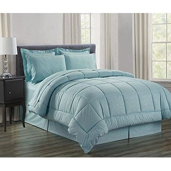 Ben&Jonah Queen Size 8 Piece Vine Down Alternative Bed N Bag  (86 inch  x 86 inch ) - Turquoise