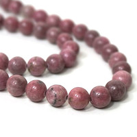 Rhodonite gemstone beads, 8mm round, natural pink, full strand (1024S)