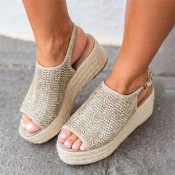 Vintage Wedge Heels Shoes Comfortable Platform Shoes 2019 Summer Women Sandals Fashion Female Beach Shoes Plus Size 35-43