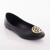 Breckelles Chic Show Ornament Accent Ballet Flats - Black