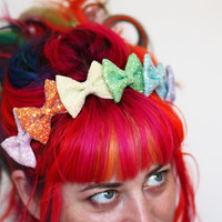 Rainbow Glitter Bow Crown Headband, Rainbow or Pastel Rainbow