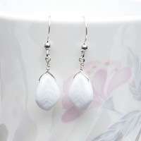 White Leaf Earrings, Dangle Earring, Nature Jewelry, White Twig Earring, Gift for Her E138