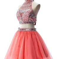 Two Pieces Organza Prom Dresses for Juniors 2015 Short,2,Peach