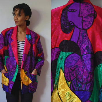 Vtg Picasso Abstract Print Pink Purple Green Buttoned Blazer Jacket