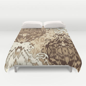 Ikat Medallions: Brown Duvet Cover by Eileen Paulino