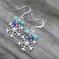 Snowflake earrings, winter earrings, Blue earrings, holiday earrings,  cute fashion earrings, dangle earrings,gift for her, stocking stuffer