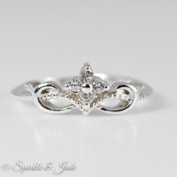 Sterling Silver Cubic Zirconia Floral Crown Ring - CLEARANCE