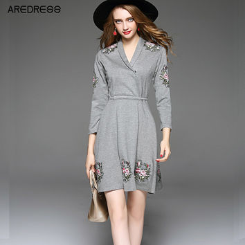 2017 Women V Neck Embroidery Grey Bodycon Autumn Dress Long Sleeve A Line Lace Up Ladies Casual Skater Dress