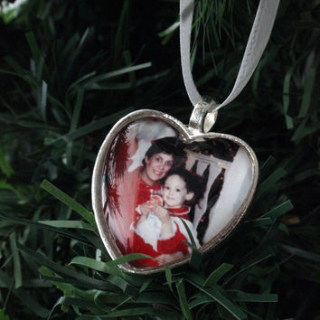 Heart Photo Christmas Tree Ornament in Silver or Bronze Tone