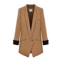 ZLYC Women Lady Fashion 3/4 Sleeve Skinny Lapel Contrast Trim Longline Blazer