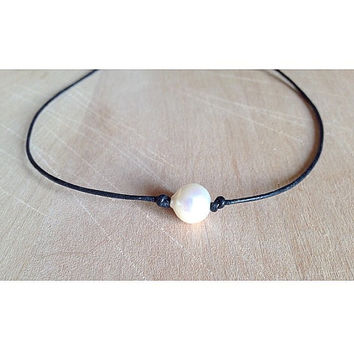Genuine Freshwater Pearl Necklace on your choice length of black or brown leather cord; feminine, pretty, cute, boho, bohemian, hippie