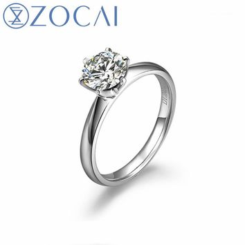 ZOCAI INFINITY NATURAL 1.0 CT GIA CERTIFIED H / SI DIAMOND ENGAGEMENT RING ROUND CUT 18K WHITE GOLD W00206