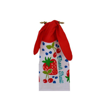 Fruit Dish Towel, Strawberry Towel, Kitchen Hand Towel, Fruit Decor, Cherries, Blueberries, Tea Towel, Hanging Towel, Tie on Towel