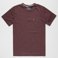 Hurley Dri-Fit Mens Henley Burgundy  In Sizes