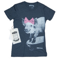 Pot Belly Pig Riding A SkateBoard Womens Tee-Shirt / T-Shirt
