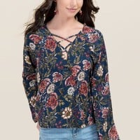 Jay Floral X Neck Top
