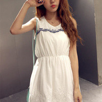 White Floral Embroidered Sleeveless Dress