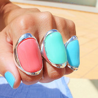 Big Bold Statement Ring - Stone Ring - Cocktail Ring - Big Ring - Oversized Ring - Turquoise Ring - Mint Ring - Coral Ring