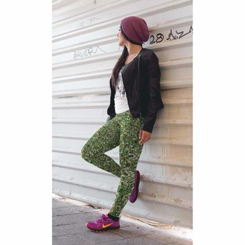 Digital Green Camouflage Leggings - Womens and Mens