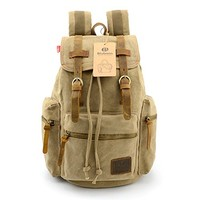 BLUBOON(TM) Vintage Men Casual Canvas Backpack Rucksack Bookbag Hiking Bag
