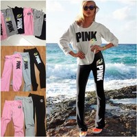 ONETOW Pink Victoria's Secret Fashion Multicolor Print Drawstring Sport Pants Trousers Sweatpants