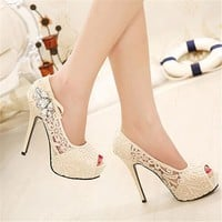 2016 NEW European Brand Ladies Sexy Rhinestone Lace Wedding Shoes High Heels Platform Pumps for women sapatos femininos 35-41