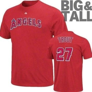 Majestic Los Angeles Angels Mike Trout 27 Name Number Tee Big and Tall T-shirt