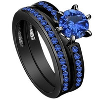 Black Wedding Ring Two in one Size 5-11 [7981084999]