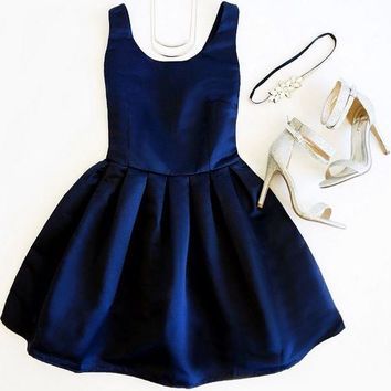 Navy Blue Short Simple Homecoming Dress