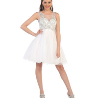 White Short Sweetheart Embroidered Dress 2015 Homecoming Dresses
