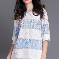 White Lace Panel 3/4-Length Sleeves Dress