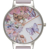 Olivia Burton Painterly Prints Leather Strap Watch, 38mm | Nordstrom
