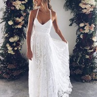 Sexy A-Line V-Neck White Tulle Long PromEvening Dress with Lace