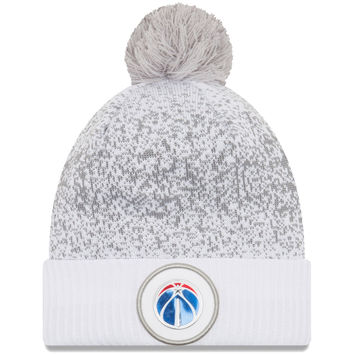 Men's Washington Wizards New Era White On-Court Cuffed Knit Hat With Pom