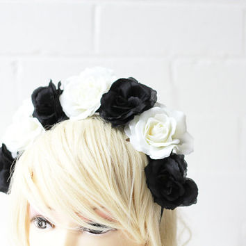 black and white rose crown headband / flower statement headpiece, hair crown, statement, lana del rey, fascinator, spring races.