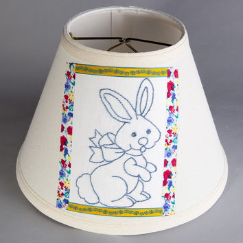 Vintage Blue Bunny Rabbit Fabric on Brand New Lamp Shade