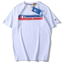Champion Tide brand rainbow letter printing men and women round neck half sleeve shirt white