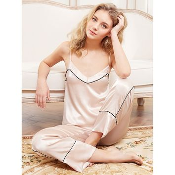 Contrast Binding Satin Cami And Pants Pj Set