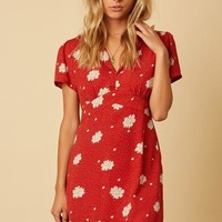 Between Us Rust Floral Collar Mini Dress