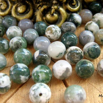 Moss Agate beads, Moss Agate mala beads, 10mm gemstone beads, healing crystals and stones, protection energy stone, loose beads in bulk