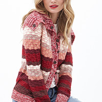 LOVE 21 Scalloped Open-Knit Cardigan Pink/Wine