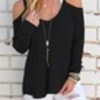 Women's Casual Loose O-neck Off Shoulder Long Sleeve Knitted Sweater [10292001991]