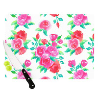 "Anneline Sophia ""Pink Roses"" Magenta Floral Cutting Board"