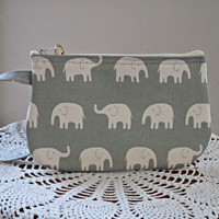 Clutch Wristlet Zipper Gadget Pouch White Elephants on Parade in Gray