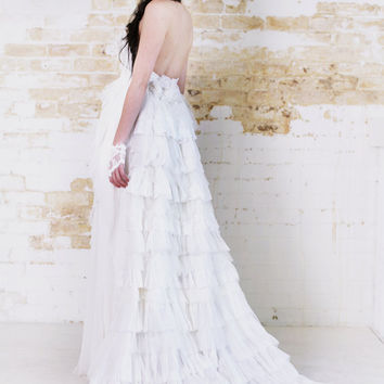 Angels Dance - Snow White Lace Silk Chiffon Wedding Gown Full Princess Ruffle Train