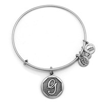 Alex and Ani Initial G Charm Bangle Bracelet - Rafaelian Silver Finish