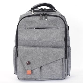 Waterproof Baby Diaper Bag with Changing Mat, Pockets, and Stroller Straps, Gray