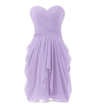 Lavender Bridesmaid Dress Short Chiffon Gowns Strapless Off the Shoulder Vestido De Festa De Casamento MInt Bridesmaid Dresses
