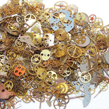 130 GEARS 10g. Vintage and New Old Stock STEAMPUNK Watch Parts Steam Punk