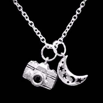 Camera Crescent Moon Celestial Photography Travel Gift Charm Necklace